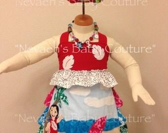 Lilo and Stitch dress/ Lilo and Stitch Red Dress/ Lilo abs Stitch Hawaiian Dress/ Lilo Dress/ Lilo and Stitch Applique Dress