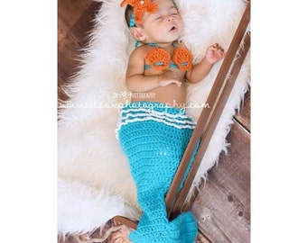 Crochet mermaid costume photo prop for baby girl any color any size infants newborns babies photography pictures halloween costumes