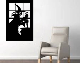 """Scary Witch in a Window large Halloween Wall Decal - Black 20""""x 30"""""""