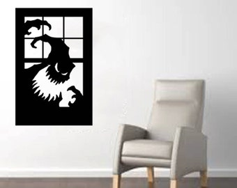 "Scary Monster in a Window large Halloween Wall Decal - Black 20""x 30"""
