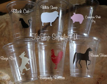 24 BarnYard country Farm 10 oz. 12 oz. or 16 oz. Cups. Birthday Party, horse, pig, dog, cat, rooster, Baby Shower,  Disposable cups. B-220