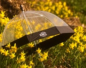 Monogrammed Embroidered Umbrella for Adults - Clear with Black Trim