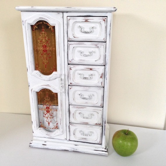large tall shabby chic jewelry armoire vintage white wood
