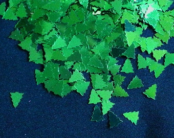 solvent-resistant glitter shapes- emerald metallic small trees