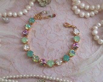SEA FOAM. 8mm Genuine Swarovski Crystal Bracelet. Mixed Opal, Chrysolite, Lt Vitrail and Moonlight.