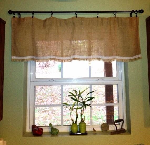 Items Similar To Vintage Charm Lace Burlap Window Valance