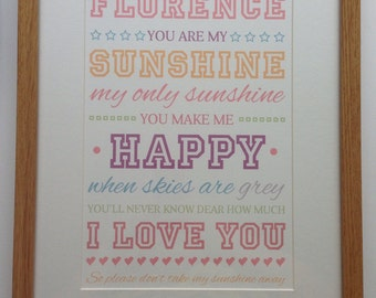 You Are My Sunshine Personalised Print