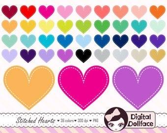 Stitched Heart Clipart, Heart Graphics, Digital Valentine's Day Clip Art