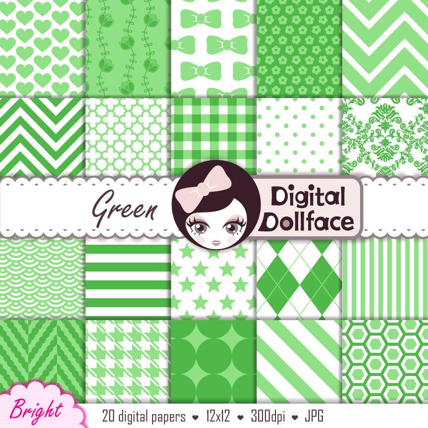 Bright green digital paper pack cute green scrapbook for Cute paper designs