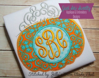 Halloween Princess Pumpkin Applique Design - Embroidery Machine Pattern monogram tiara crown
