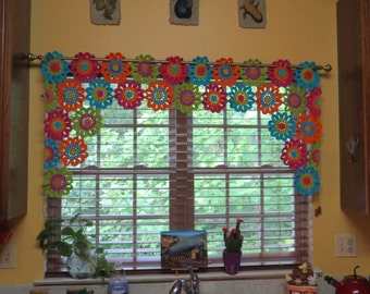 Crochet Flower Window Valance Pattern : Crochet Curtain Window Valance
