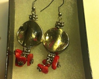 Platinum and Red Dangle Earrings