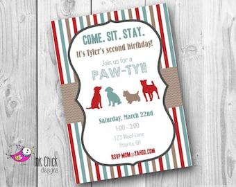 Puppy Birthday Invitation, Dog Birthday Invitation, Puppy Party, Boy, Printable, Digital File