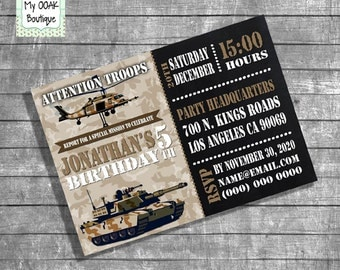 Military birthday party invitation kids army camouflage militar trucks party helicopter digital printable invitation you print invite 13177