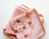 Vintage tablecloths , Vintage Embroidered pink Set Of 7 Vintage Tablecloth ,Great set for holiday table or any festive event , shabby style