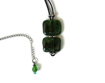 Fused glass necklace, green glass pendant necklace, green fused necklace, transparent green fused necklace, leather and fused glass necklace