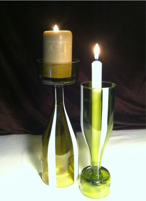 Wine bottle candle holder by gbbgmanchester on etsy for Champagne bottle candle holders