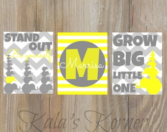 Elephant Nursery art- yellow gray, stand out, grow big, playroom art, children wall art, elephant art, elephant decor, baby name print