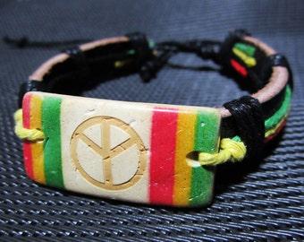 Peace Sign Bracelet - Coconut Peace Rasta Leather Bracelet - Rasta Bracelet