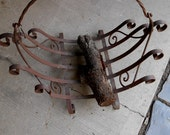 REDUCED - Antique Rustic Iron Log Holder Rack for the Fire Place