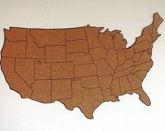 "Corkboard map of US with outline of states, Size XL (52""x31"")"