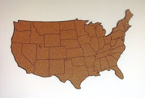 Corkboard Map Of US With Outline Of States Size XL - Us brown map with states