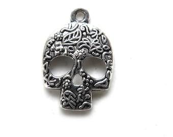 6 Silver Sugar Skull Charms
