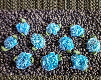 Small Blue Chrysanthemum Ribbon Blossoms