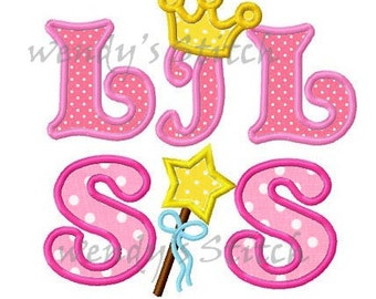 LiL SIS little sister princess crown applique machine embroidery design digital pattern