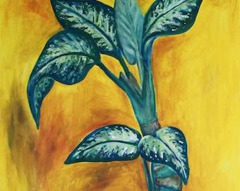 The green plant - an original painting by Liena Ivanova