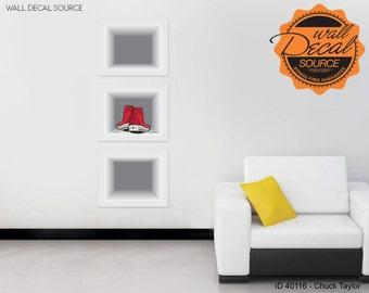 Chuck Taylor Converse Wall Decal - Fake Modern Shelves Art Vinyl Stickers