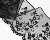 Flower Raschel Non-Stretch Lace Trim, 3-1/4 Inch by 1 Yard, Black, White, STEP-3801