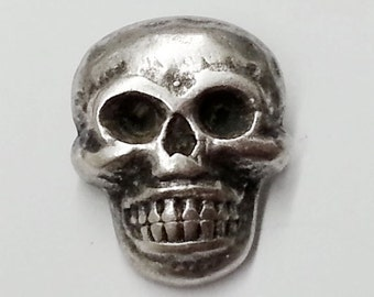 18mm Metal Skull Button with Shank by 2pcs,  Silver, TR-11145A