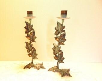 Vintage Brass Partylite Ivy Candle Sconce Set