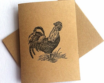7 rooster blank note cards and envelopes. Animal wildlife cards. Cards are brown with a black ink rooster or choose white with a red rooster
