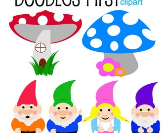 Gnomes Clipart Digital Clip Art for Scrapbooking Card Making Cupcake Toppers Paper Crafts