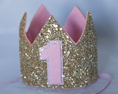 Glittery Birthday Crown , Birthday Crown, cake smash, 1st birthday, birthday girl, Birthday, baby birthday, sparkle, pink and gold, gold