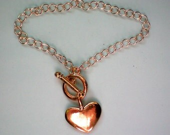 Sweetheart Charm Bracelet with Gold tone Dangle Heart - 2688