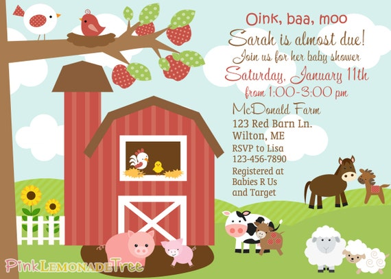farm themed baby shower invitation farm animals barn on the farm by