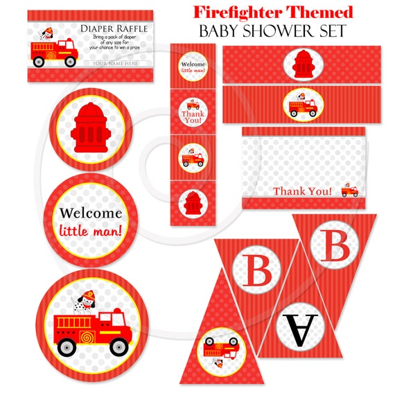 Firefighter Firetruck Baby Shower Set, DIY Printable Baby Shower  Decorations, Thank You Card, Banner, Cupcake Toppers, Diaper Raffle Tickets