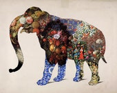 Fine Art Silhouette Elephant Collage Print - Vintage, Illustration, Floral, Painting, Fabric, Pattern, Silhouette