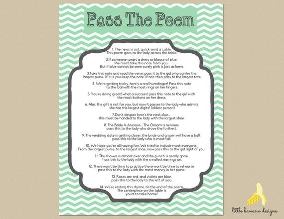 Items similar to Mint Chevron Bridal Shower Pass the Poem • Print ...