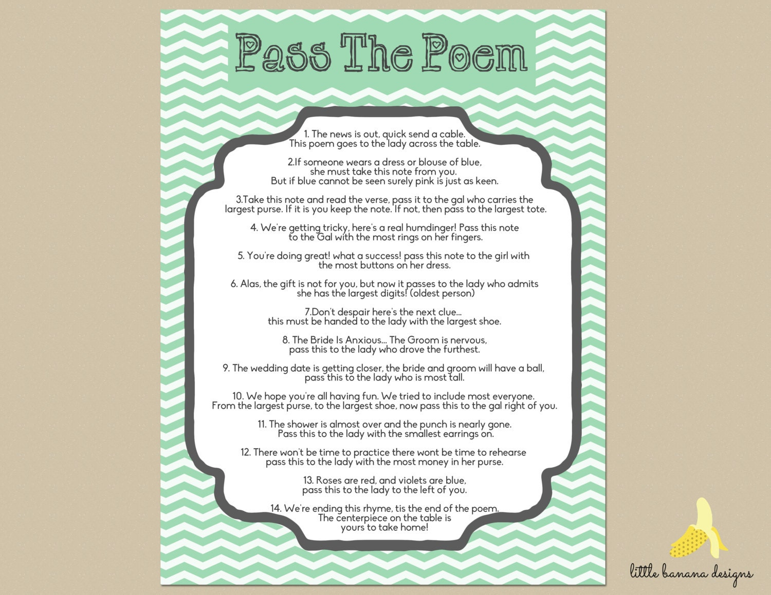 items similar to mint chevron bridal shower pass the poem print at