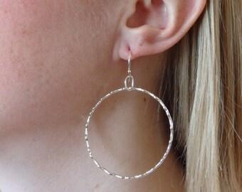 E220 Fine Silver large scallop hoop earrings