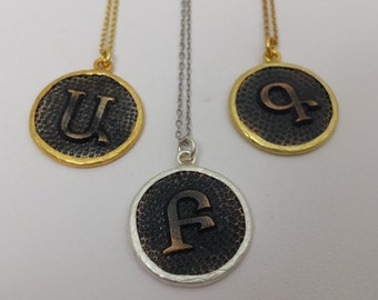 Vintage one-of-a-kind  Armenian Initial Pendants -perfect for Holiday stocking stuffer!