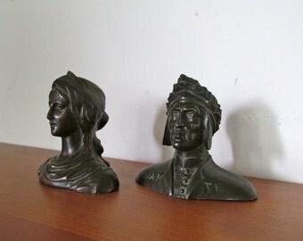 Dante and Beatrice Antique Bronze Bust Pair
