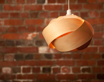 Wood veneer pendant light shade - Rose