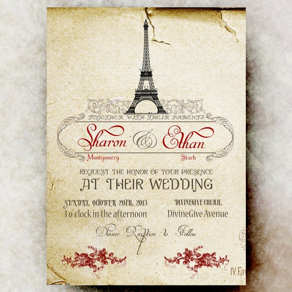 Vintage Paris Wedding Invitation Background