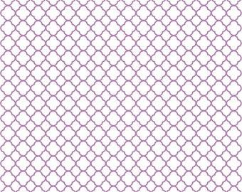 Orchid quarterfoil craft  vinyl sheet - HTV or Adhesive Vinyl -  white with orchid purple clover quatrefoil pattern vinyl HTV543