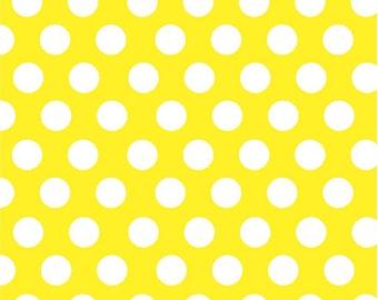 Yellow with white polka dots craft  vinyl sheet - HTV or Adhesive Vinyl -  large polka dot pattern HTV745